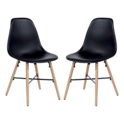 An Image of Arturo Black Bistro Chair In Pair With Oak Wooden Legs