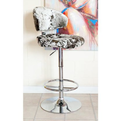 An Image of Crushed Velvet Bar Stool In Silver With Chrome Base