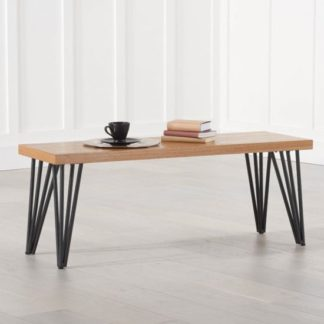 An Image of Beid Wooden Dining Bench In Oak With Black Metal Legs