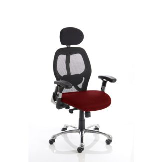 An Image of Coleen Home Office Chair In Chilli With Castors