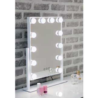 An Image of Hollywood Swivel Dressing Mirror With White High Gloss Frame