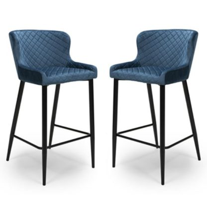 An Image of Malmo Blue Velvet Fabric Bar Stool In Pair With Metal Base