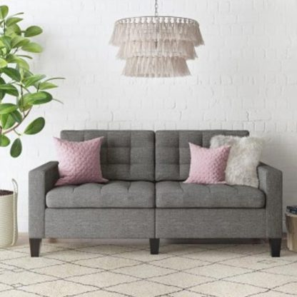 An Image of Bowie Fabric Large 2 Seater Sofa In Linen Grey