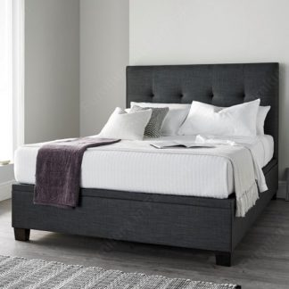 An Image of Florus Fabric Ottoman Storage King Size Bed In Slate