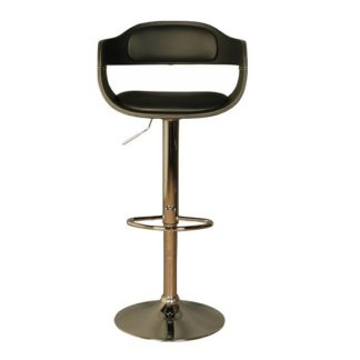 An Image of Molte Bar Stool In Black Faux Leather With Chrome Base