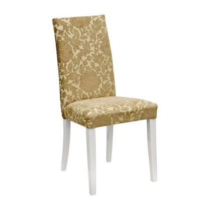 An Image of Spectra Lucia Gold Fabric Dining Chair With Wooden Legs