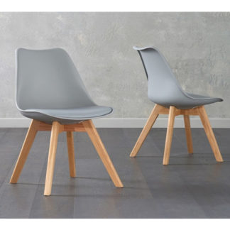 An Image of Brachium Light Grey Faux Leather Dining Chairs In Pair