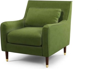 An Image of Content by Terence Conran Oksana Armchair, Plush Vine Green Velvet with Dark Wood Brass Leg
