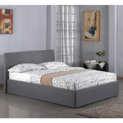 An Image of Fusion Linen Fabric Storage Double Bed In Grey
