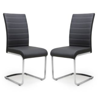 An Image of Callisto Black Leather Cantilever Dining Chair In A Pair
