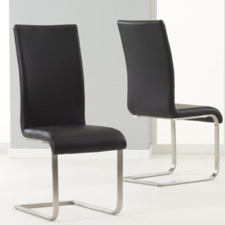 An Image of Nenque Black PU Leather Dining Chairs In Pair