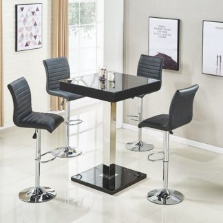 An Image of Topaz Bar Table In Black Gloss With 4 Ripple Stools