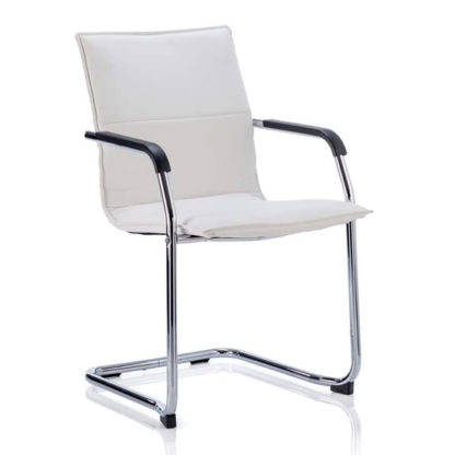An Image of Echo Leather Cantilever Office Visitor Chair In White With Arms