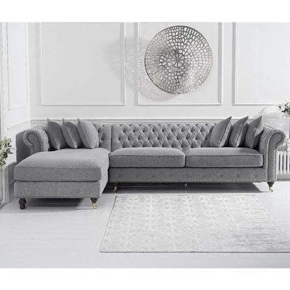 An Image of Aniara Linen Left Facing Chaise Sofa Bed In Grey