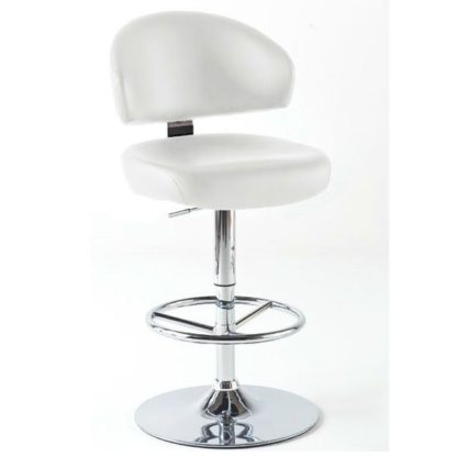An Image of Bingo White Bar Stool In Faux Leather With Chrome Base