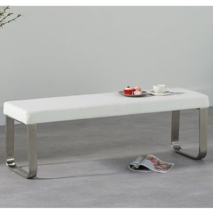 An Image of Washington Medium Dining Bench In White Faux Leather