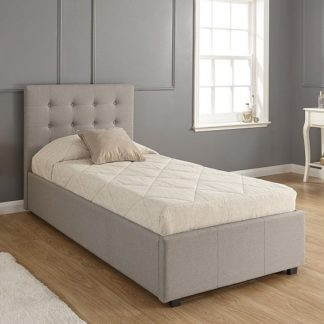 An Image of Lucca Fabric Ottoman Storage Single Size Bed In Grey