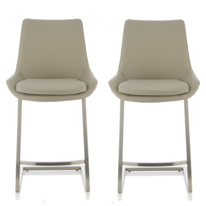 An Image of Rasmus Bar Stool In Grey Faux Leather In A Pair