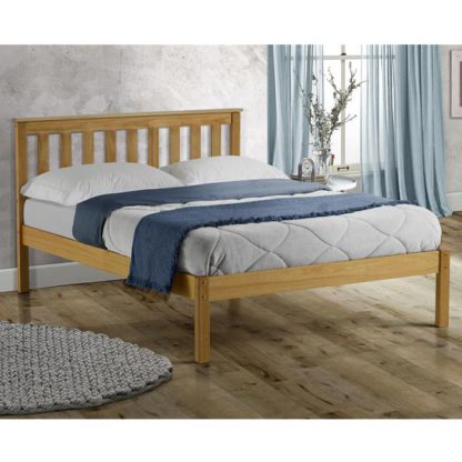 An Image of Denver Wooden Low End Small Double Bed In Antique Pine