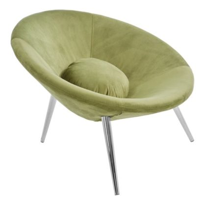 An Image of Artos Velvet Lounge Chair In Green With Chrome Legs