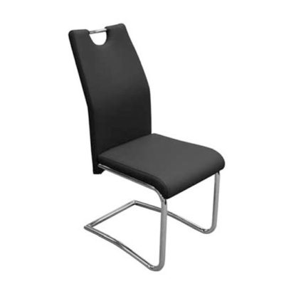 An Image of Capella Faux Leather Dining Chair In Black