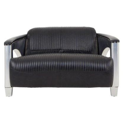 An Image of Sadalmelik Leather 2 Seater Sofa In Black