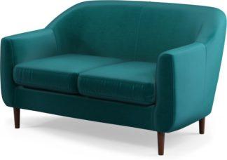An Image of Custom MADE Tubby 2 Seater Sofa, Tuscan Teal Velvet with Dark Wood Legs