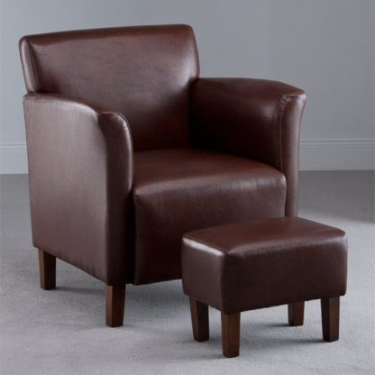 An Image of Berkley Brown Faux Leather Armchair with Footstool
