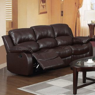 An Image of Piscium Leather Full Bonded Recliner 3 Seater Sofa In Brown