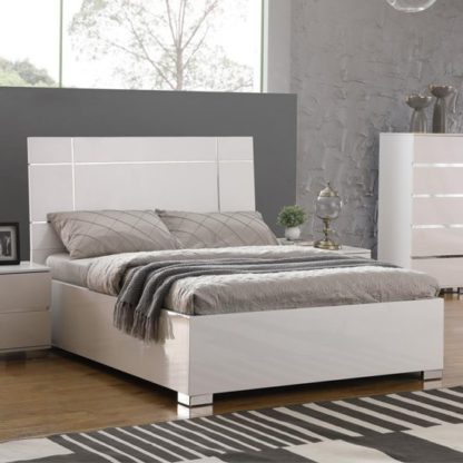 An Image of Helsinki Wooden Double Bed In White High Gloss