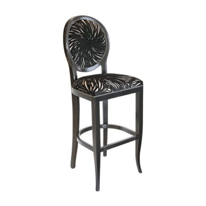 An Image of Adelaide Black Fabric Bar Stool With Wooden Frame