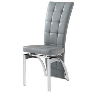 An Image of Ravenna Dining Chair In Grey Faux leather With Chrome Base
