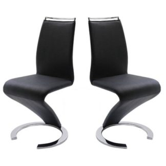 An Image of Summer Z Shape Dining Chair In Black Faux Leather in A Pair