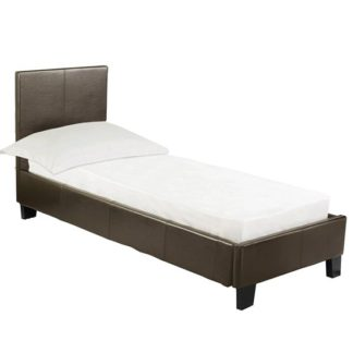 An Image of Prado Faux Leather Single Bed In Brown