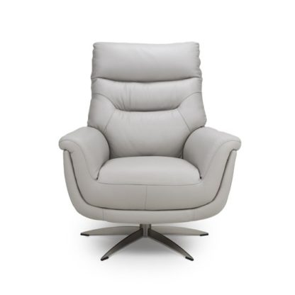 An Image of Linea Faux Leahter Swivel Armchair In Putty