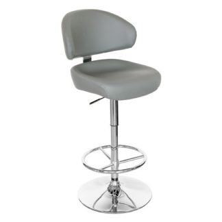 An Image of Casino Grey Leather Bar Stool With Chrome Base