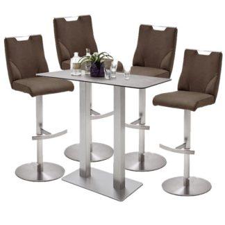 An Image of Soho Glass Bar Table With 4 Jiulia Brown Leather Stools