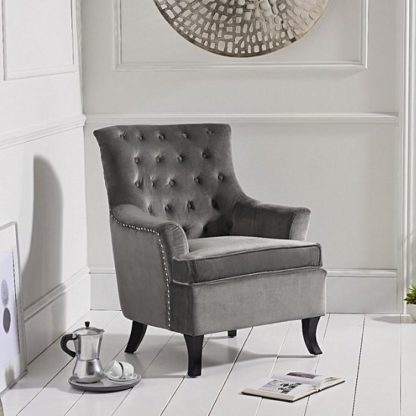 An Image of Bartow Modern Accent Chair In Grey Velvet With Black Legs