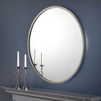 An Image of Octave Round Wall Mirror With Pewter Frame