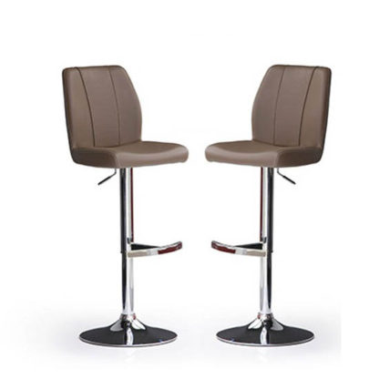 An Image of Naomi Bar Stools In Cappuccino Faux Leather in A Pair
