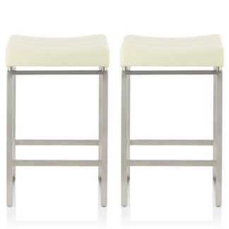 An Image of Leighton Bar Stool In Cream Faux Leather In A Pair