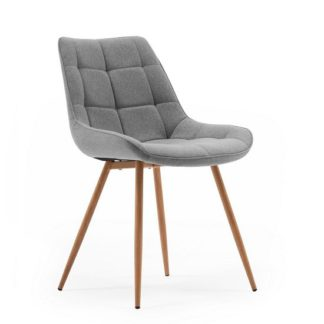 An Image of Primo Fabric Dining Chair In Grey With Sonoma Oak Legs