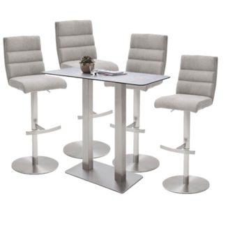 An Image of Soho Glass Bar Table With 4 Hiulia Ice Grey Fabric Stools