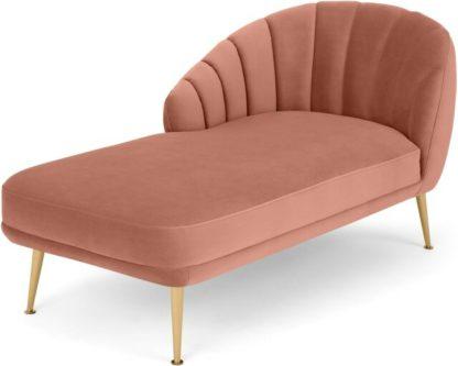 An Image of Primrose Left Hand Facing Chaise Longue, Velvet Blush Pink