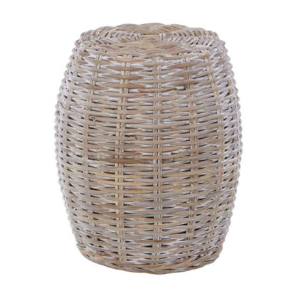 An Image of Helvetios Wooden Rattan Stool In White Wash