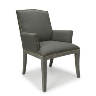 An Image of Quinton Linen Effect Square Stud Accent Chair In Antique Grey