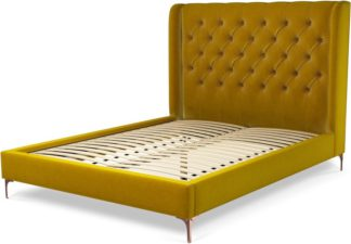 An Image of Custom MADE Romare King size Bed, Saffron Yellow Velvet with Copper Legs