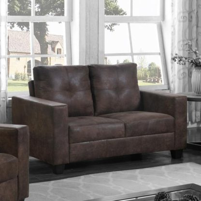 An Image of Lena Antique Fabric 2 Seater Sofa In Brown