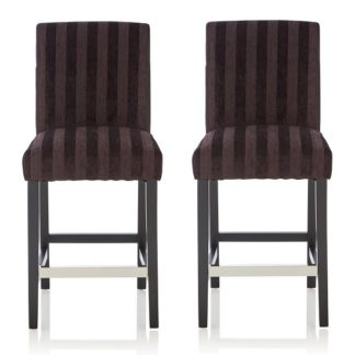 An Image of Alden Bar Stools In Aubergine Fabric And Black Legs In A Pair