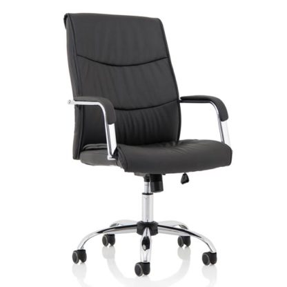 An Image of Carter Leather Luxury Office Chair In Black With Arms